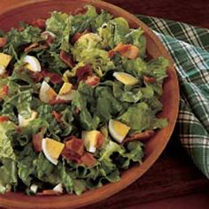 """WHEN we were kids, my sister and I would prepare the freshly picked lettuce for this salad, rinsing it several times and carefully drying it. As we did so, we quibbled about the portions we'd each have. Somehow, it seems she always managed to get more! Wilted Lettuce Recipe, Lettuce Salad Recipes, Beef Salad, Taste Of Home, Salad Bar, Soup And Salad, Vegetable Salad, Vegetable Dishes, Caesar Salat"