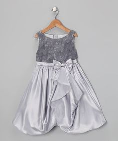 Love this Silver Rosette Gathered Dress - Toddler & Girls by Kid's Dream on #zulily! #zulilyfinds