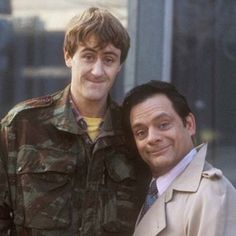 "Rodney ""Rodders"" Trotter and Derek ""Del Boy"" Trotter from the BBC series Only Fools and Horses, portrayed by Nicholas Lyndhurst and David Jason British Sitcoms, British Comedy, British Actors, English Comedy, Comedy Tv, Comedy Show, David Jason, Only Fools And Horses, Classic Comedies"