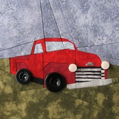 My Twilight Quilt: Bella's Truck, paper pieced with button wheels, at Such a Sew and Sew.  Design by Cat Magraith (free pattern).