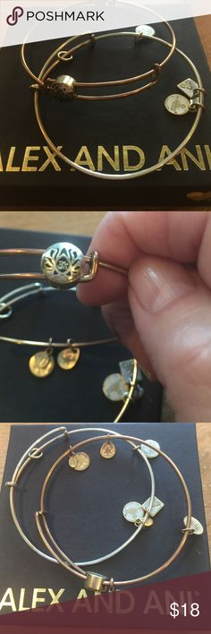 🌲Alex and Ani bracelets Two bracelets her . One is a gold tags symbol and one has no charm and is silver. Without the box Alex and Ani Jewelry Bracelets