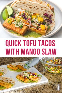 These Tofu Tacos with Mango Slaw have a quick and tasty shortcut: storebought tofu that's already been marinated and baked. Tasty Vegetarian Recipes, Vegetarian Lunch, Vegetarian Dinners, Vegan Recipes Easy, Vegetable Recipes, Easy Dinners For Two, Meals For Two, Healthy High Protein Meals, Tofu Tacos