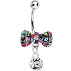 Crystalline Round Drop and Multi Gem Clown Tie Dangle Belly Ring #bodycandy #bodyjewelry $11.99