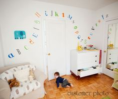 Childrens Alphabet Wall Decal - Nursery Children's Bedroom Fun and Funky Fonts - Modern Gender Neutral - Wall Art -. $32.00, via Etsy.