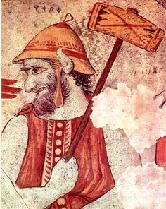 Etruscan fresco of Charun who delivers dead souls into the underworld