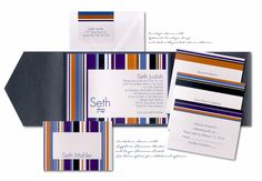 Sensational Stripes Pocket Bar Mitzvah Shimmer Pocket Bar Mitzvah Invitation