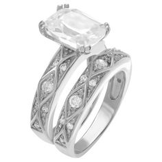8 1/2 CT. T.W. Cushion-cut CZ Prong Set Wedding Ring Set in Sterling Silver - Silver7, Women's, Size: 7