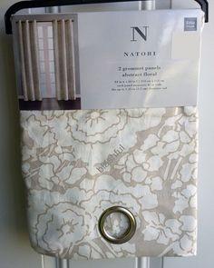 "*NEW* Natori Tan Beige Abstract Floral Window Curtain Panel 84""x84"" PAIR Grommet"