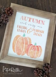 Fall Pumpkin Printable that is just adorable!! It can be added to any room to make it feel like autumn! Love it! Click for your free printable