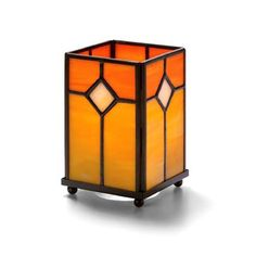 Panel Lamp, Square, Orange Stained Glass