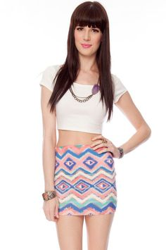 Style struck! Make sure to add this adorable white Crop T-Shirt and tribal mini skirt to your wardrobe! www.mtv.in.com/style