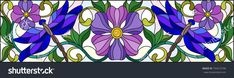 Illustration in stained glass style with bright dragonflies , floral ornament and purple flowers on a light background