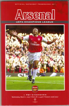 Arsenal v PSV Eindhoven Football Programme UEFA Champions League 07/03/2007 Listing in the European Club Fixtures,Football (Soccer),Sports Programmes,Sport Memorabilia & Cards Category on eBid United Kingdom