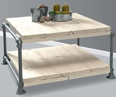 Tafel doe het zelf voorbeeld, om van steigerbuis en steigerhout te maken.