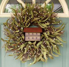 Summer Wreath - Wreath for Door - Birdhouse Wreath on Etsy, $49.00