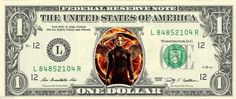 Mockingjay KATNISS - Hunger Games - Real Dollar Bill Cash Money Collectible Memorabilia Celebrity Novelty by Vincent-the-Artist, $7.77 USD