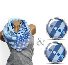 Loop Punkte Mix ♥ blau + Ohrringe von Faitly auf DaWanda.com