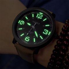 Luxury Fashion Brand Mens Watch Digital Casual Leather