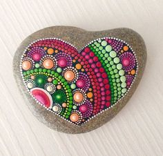 Big Heart Dot Art Mandala Painted Stone Fairy Garden Gift Decoration Painted rock Beachstone