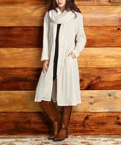 Another great find on #zulily! Winter White Cable-Knit Duster - Women #zulilyfinds