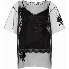 Helmut Lang Orchid Embroidered Sheer Top (2.235 BRL) ❤ liked on Polyvore featuring tops, layered tops, broderie top, sheer top, transparent top and see through tops