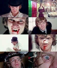 """A Clockwork Orange"". A montage of stills of Malcolm McDowell from the Kubrick film."