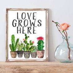 Love this cactus print! Decoration Cactus, Cactus Art, Watercolor Print, Classroom Decor, Printable Wall Art, Diy Art, Sweet Home, Diy Crafts, Prints