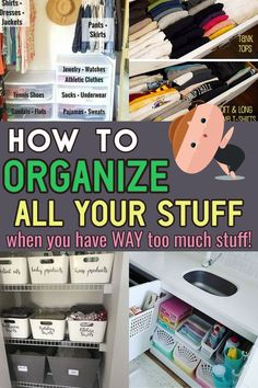 Getting Organized tips, tricks and ideas to declutter your home even if feeling overwhelmed - here's how to START decrapifying your house room by room to finally get organized at home Do It Yourself Organization, Clutter Organization, Home Organization Hacks, Organising Ideas, Household Organization, Bedroom Organization, Kitchen Organization, Declutter Your Home, Organizing Your Home