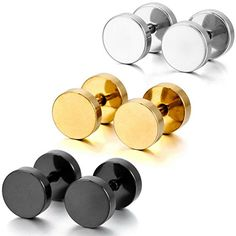 Silver Black Gold 3 Pairs Stainless Steel Stud Earrings Tapers Plugs Tunnel Double Side * You can get additional details at the image link.
