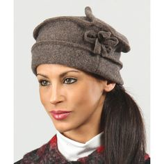 Eva Tralala Dark Brown Wool Beret (1.565 RUB) ❤ liked on Polyvore featuring accessories, hats, caps hats, wool beret, wool hat, beret hat and crown cap hats