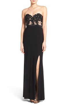 Jump Apparel Jump Apparel 'Lucia' Strapless Lace Bodice Gown available at #Nordstrom