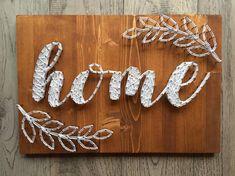 "Home Decor - ""Home"" string art with leaf design art diy art easy art ideas art painted art projects String Art Templates, String Art Patterns, String Art Tutorials, String Art Diy, String Crafts, Wood Crafts, Diy And Crafts, Diy Wood, Crafts To Make And Sell Unique"