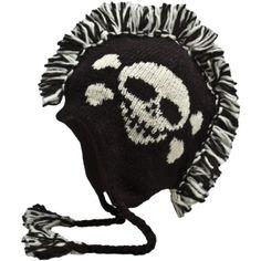 CH120M – BLK WH – A04-skull-mohawk-hat-nirvanna-designs