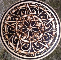 Garden Gate Pentacle, pyrography on birch plaque Wood Burning Crafts, Wood Burning Patterns, Wood Burning Art, Wood Crafts, Pyrography Designs, Pyrography Patterns, Got Wood, Celtic Art, Celtic Designs