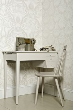 Farrow & Ball Lotus BP2007 wallpaper. Desk & chair in Elephant's Breath Estate Eggshell. Skirting in Wimborne White