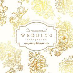 Fundo do casamento Ornamental Vetor Premium