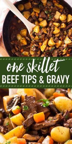 easy One Skillet Beef Tips and Gravy recipe, completely made on the stovetop. Quick and easy to put together, this family dinner is on the table in just 45 minutes - most of it is hands-off! The dish is filled with tender beef tips as well as potatoes Beef Tip Recipes, Beef Recipes For Dinner, Healthy Recipes, Beef Tips Recipe Oven, Dinner Ideas With Beef, Cooking Recipes, Quick Recipes For Dinner, Skillet Recipes, Skillet Meals