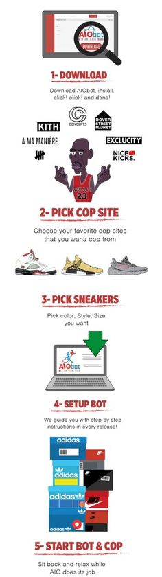 AIO Bot is an All In One Sneaker Bot which provides a solution to buy limited sneakers from retail websites: Footlocker, Finishline, Hanon, Adidas and more. Retail Websites, Step By Step Instructions, All In One, Sneakers, Shoes, Tennis, Slippers, Zapatos, Shoes Outlet