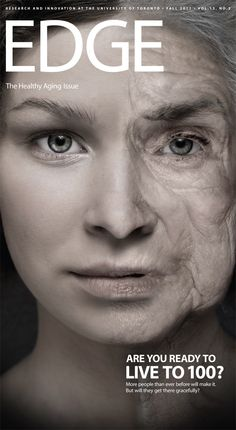 Use of Photoshop on the face to illustrate living to an old age and alignment of text and typographical style emphasize the picture used.