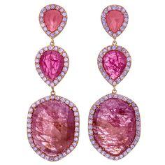 Pink Sapphire Slice Triple Drop Earrings