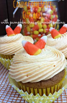 Candy Corn Spice Cupcakes with Pumpkin Cream Cheese Frosting Recipe