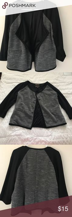 Cute blazer Black and gray blazer wth textured tweed like material on torso. Would be great for the office! Dana Buchman Jackets & Coats Blazers