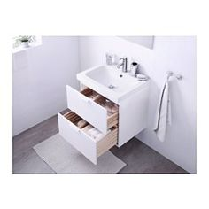 ****can this be used with 'sektion wall cabinet with for a floating effect? GODMORGON / BRÅVIKEN Sink cabinet with 2 drawers - high gloss white - IKEA Steel Seal, Wash Stand, Plastic Drawers, White Vanity Bathroom, Ikea Vanity, Ikea Bathroom, Bathroom Vanities, Bathroom Ideas, Small Bathrooms