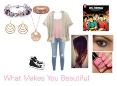 """""""What Makes You Beautiful by One Direction"""" by themortalinstrumentslover ❤ liked on Polyvore featuring Frame Denim, WearAll, Victoria's Secret, Converse, Bling Jewelry, Frederic Sage, Cartier and Pink Mascara"""
