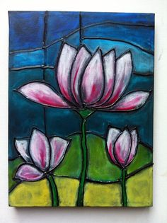 Stained glass on canvas-Would love to take this class (hot glue and oil pastels)