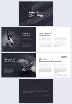 I have always loved history when I was in school. It's good to learn as much as possible about our nation and its heroes. For your next history class, gather all the information and put it into this editable civil war presentation template. Both your teacher and colleagues will be impressed. Upload your own pictures, fonts, change the colors and insert some text. Best Presentation Templates, Presentation Styles, Project Presentation, Powerpoint Slide Designs, Powerpoint Design Templates, Graphic Design Flyer, Ppt Design, Timeline Design, American Civil War