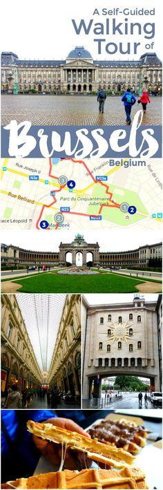 2 mapas auto-guiados a pie por 10 / principales lugares de interés en Bruselas (Bruxelles), Bélgica