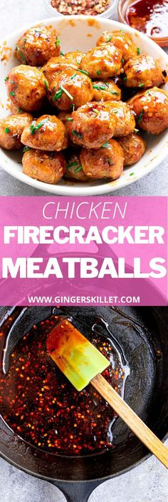 Spicy Chicken Meatballs aka Firecracker meatballs recipe with step-by-step instructions. These spicy and sweet twice-baked chicken meatballs are super easy to make and tastes delicious as an appetizer or in a meal! Baked Chicken Meatballs, Spicy Meatballs, Chicken Meatball Recipes, Meatball Sauce, Firecracker Meatballs, Firecracker Chicken, Lunch Recipes, Appetizer Recipes, Appetizers