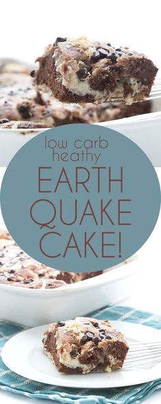 Low Carb Chocolate E Low Carb Chocolate Earthquake Cake! Your new favorite easy keto chocolate cake recipe. Delicious layers of tender almond flour chocolate cake mixed up with sugar free cream cheese frosting. THM Banting recipe.