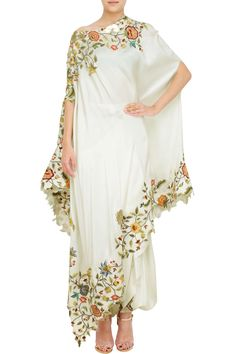Cream silk floral drape set